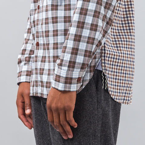 Junya Watanabe Tartan Button Down in Brown/Chambray - Notre