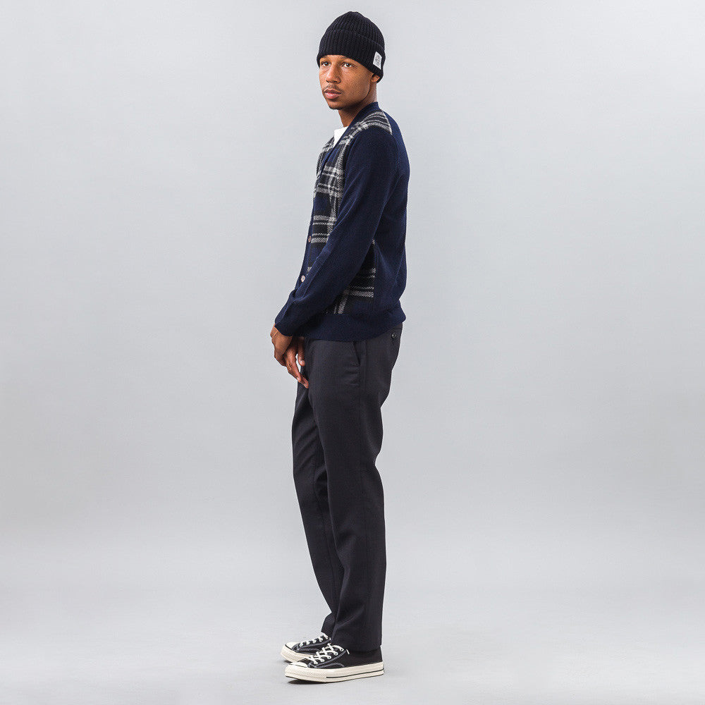 Wool Trouser in Dark Navy Stripe