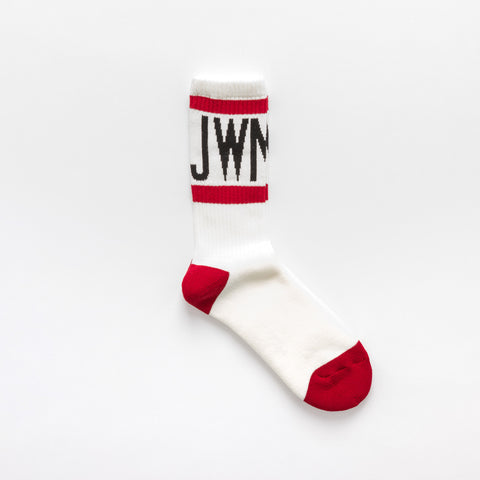 Junya Watanabe Cotton Blend Crew Socks in Red/White - Notre