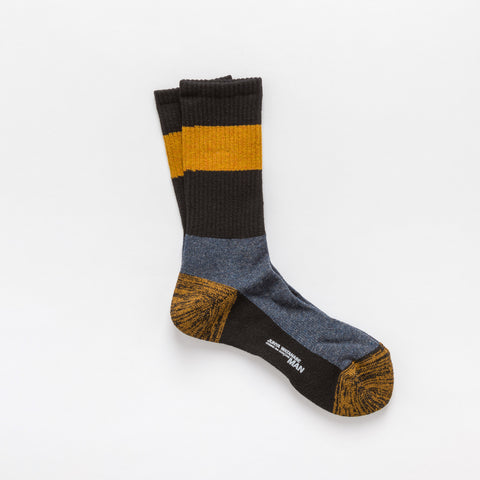 Junya Watanabe Wool Blend Crew Socks in Navy/Yellow - Notre