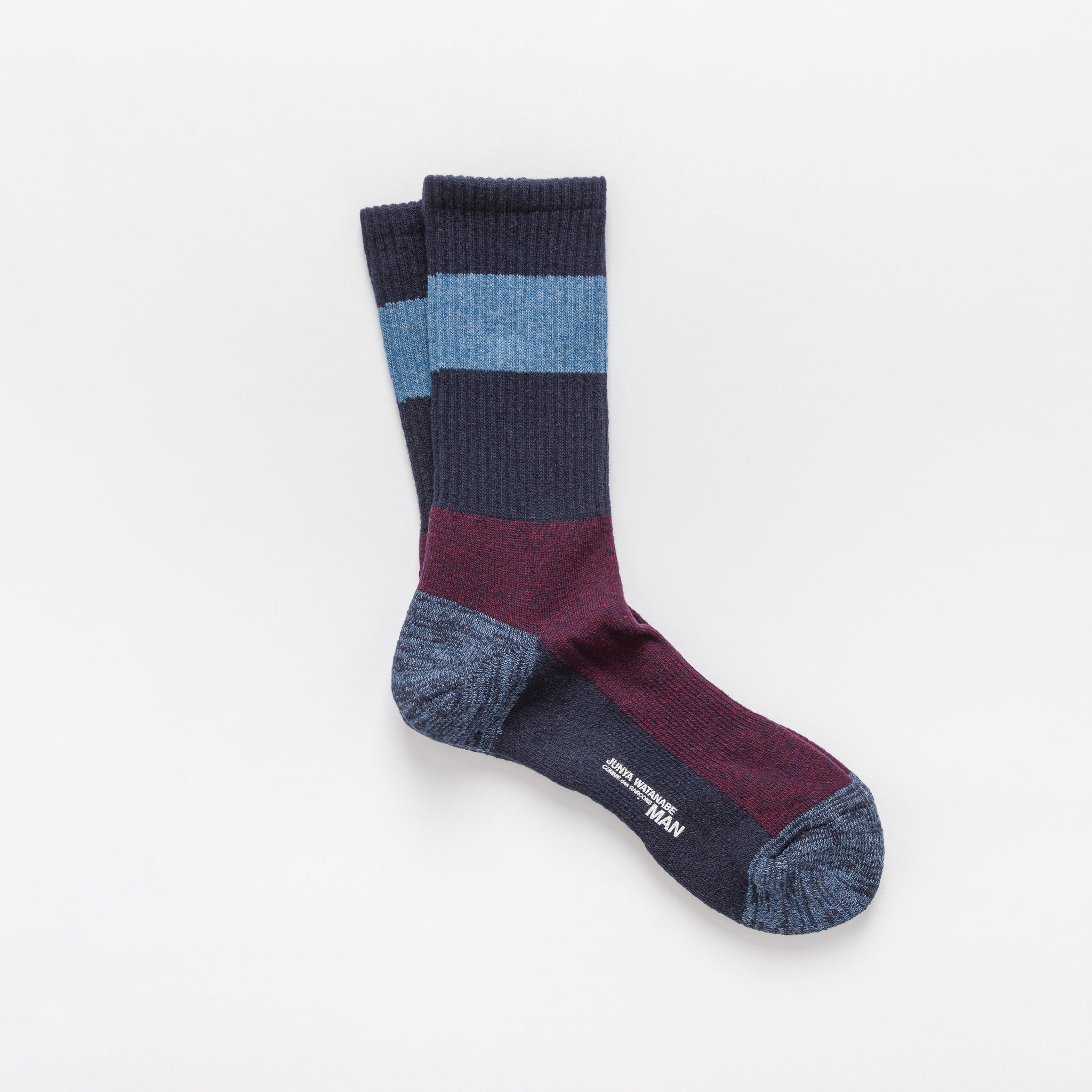 Wool Blend Crew Socks in Navy/Burgundy