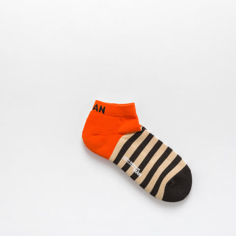 Junya Watanabe Cotton Blend Ankle Socks in Orange/Black/Cream - Notre