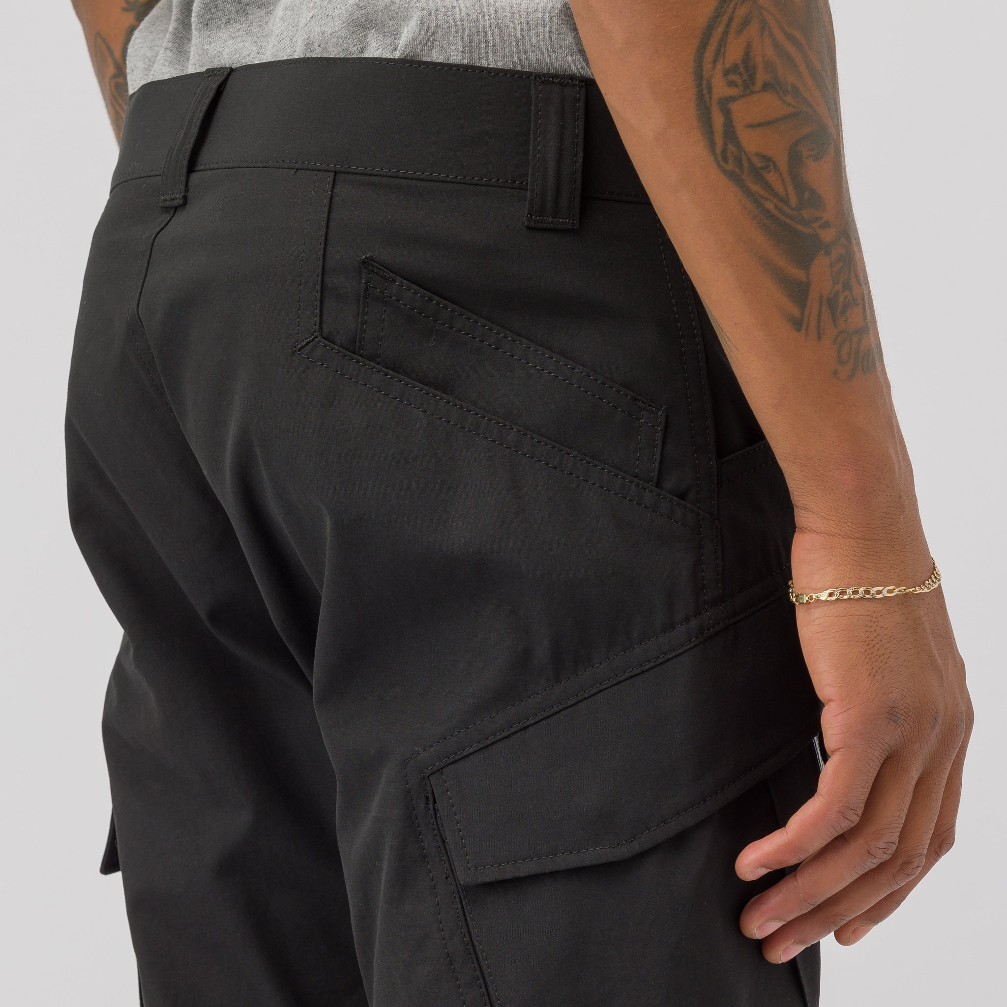 Zip Cargo Pants in Black