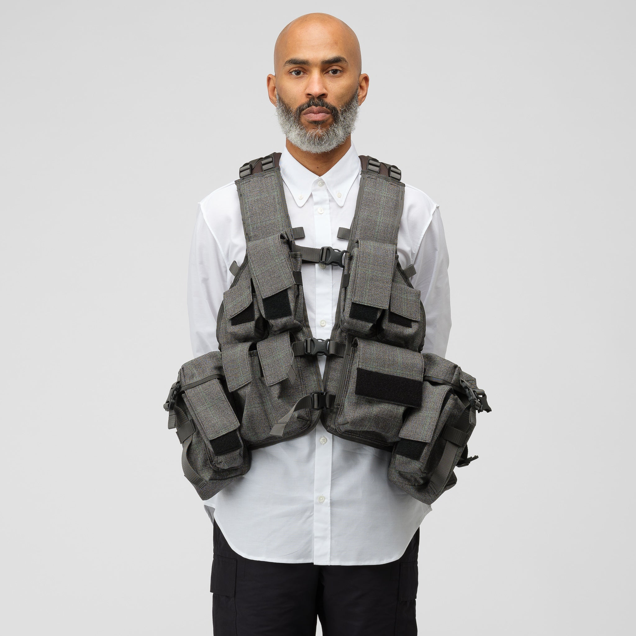 Woven Tactical Pocket Vest in Grey Windowpane