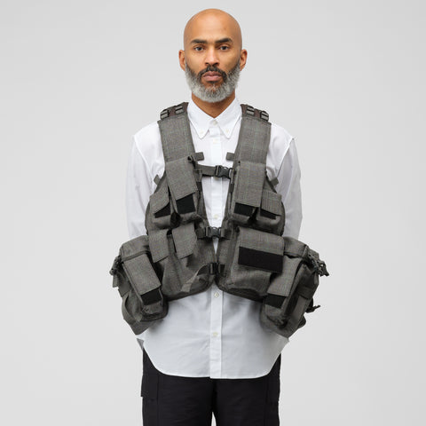 Junya Watanabe Woven Tactical Pocket Vest in Grey Windowpane - Notre