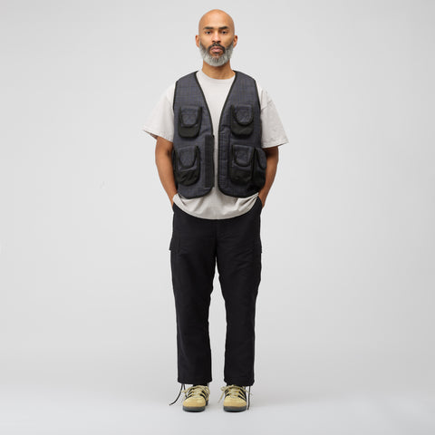 Junya Watanabe Woven Utility Vest in Grey Check - Notre