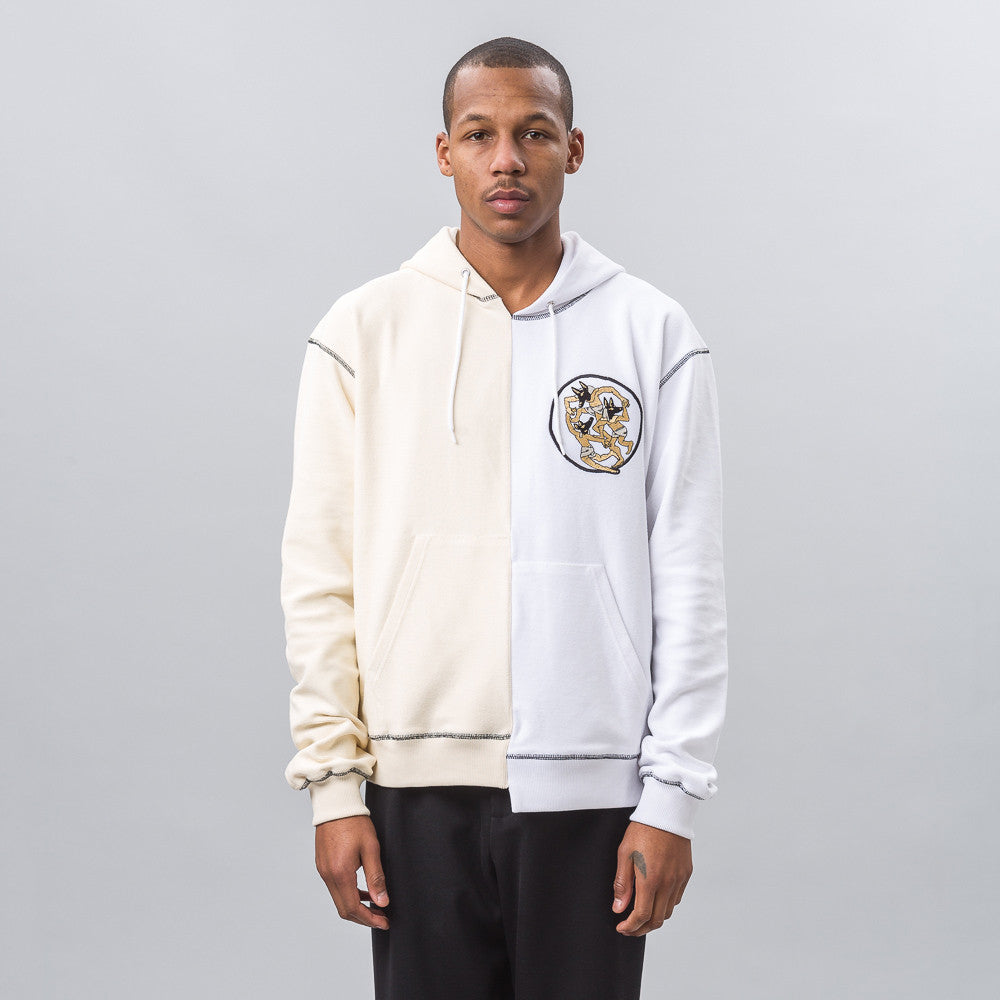 J.W. Anderson Distorted Front Hoodie with Embroidery Patch in Calico Notre 1