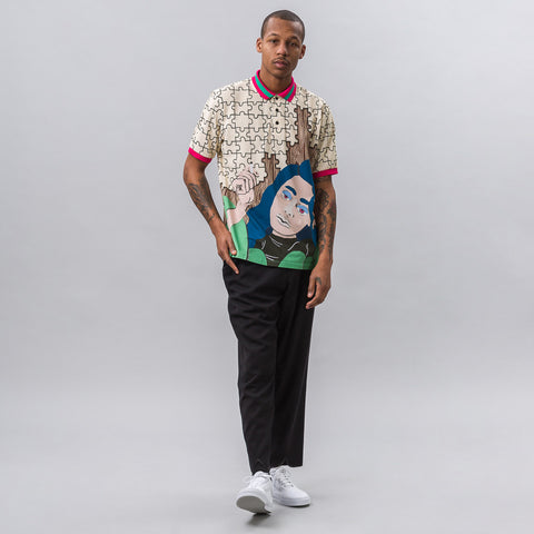 J.W. Anderson Graphic Polo with Rib Collar in Calico - Notre