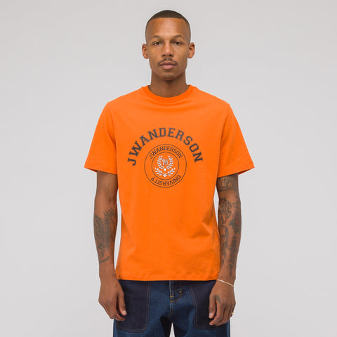 J.W. Anderson University Logo Print T-Shirt in Satsuma - Notre