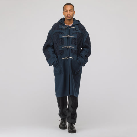 Maison Margiela Oversized Knit Sleeve Coat in Navy - Notre