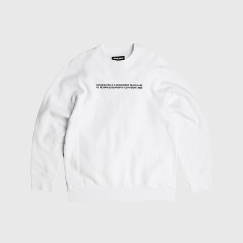 Know Wave Trademark Crewneck Sweatshirt in White - Notre
