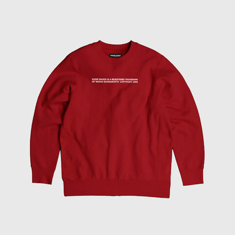 Know Wave Trademark Crewneck Sweatshirt  in Red - Notre