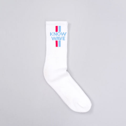 Know Wave KW Socks in White-Blue/Red Verticle - Notre