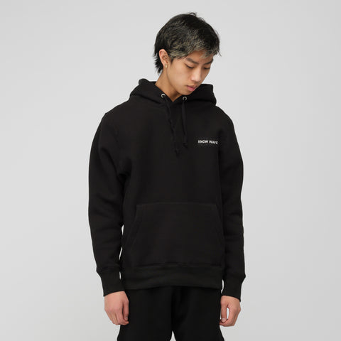 Know Wave Stack Embroidery Hoodie in Black - Notre