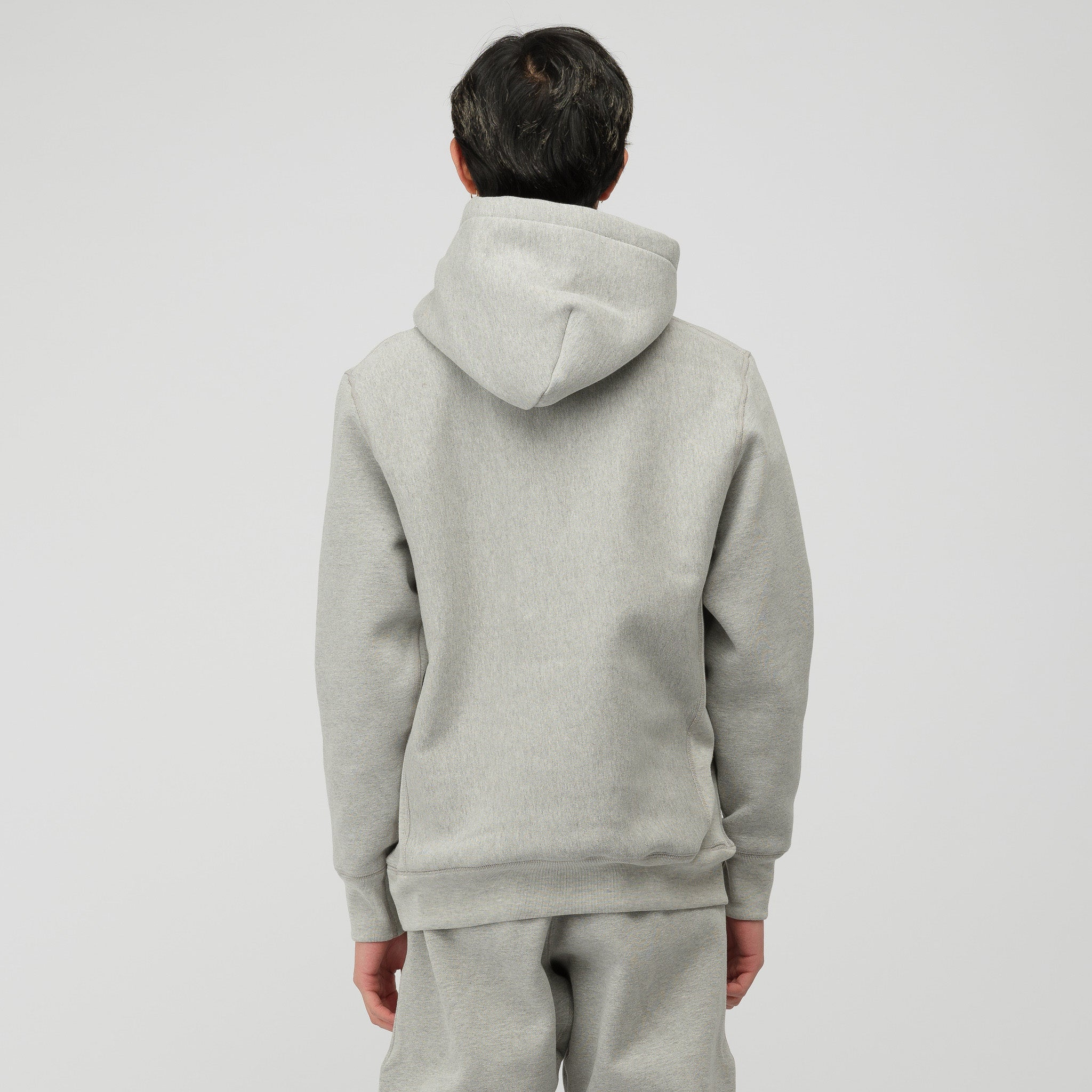 Stack Embroidery Hoodie in Heather Grey
