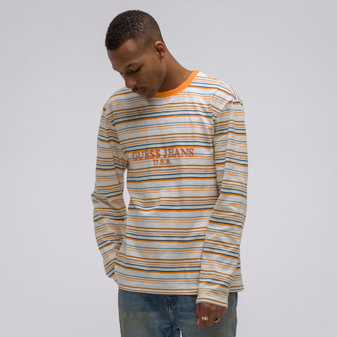 Guess x A$AP Rocky Long Sleeve A$AP USA Stripe Tee in Multi - Notre