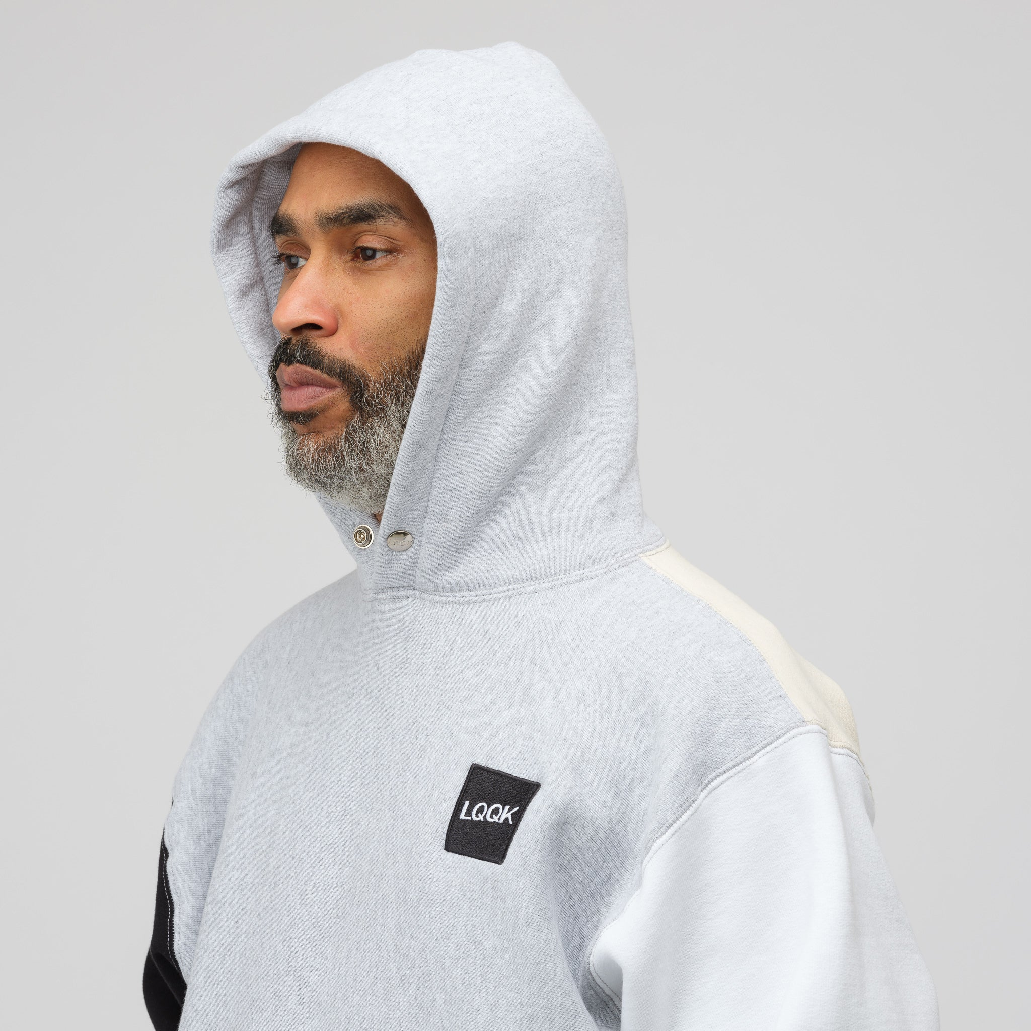 Colorblock Snap Hoodie in Grey