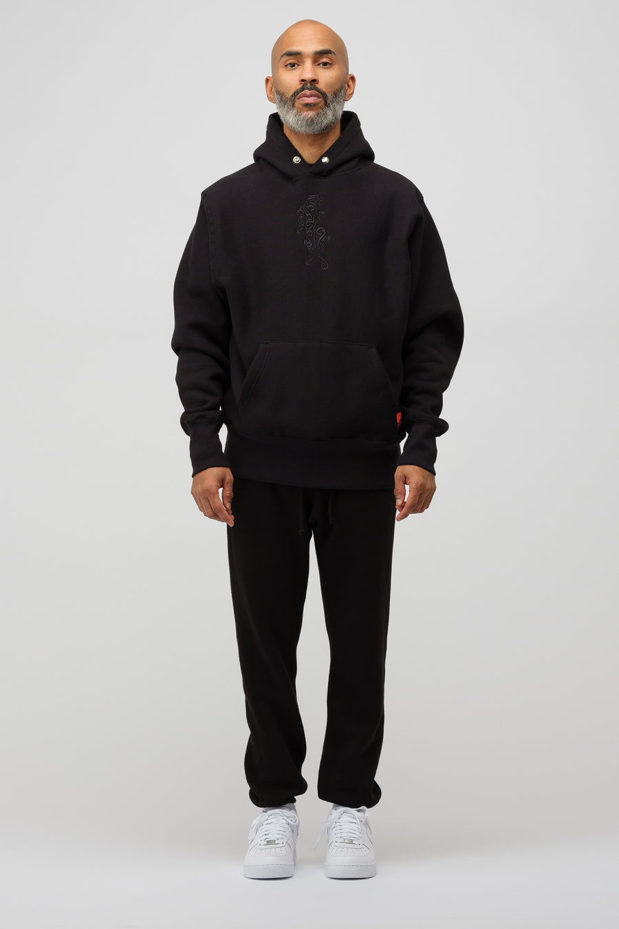 LQQK Studio Signature Snap Dojo Hoodie in Black - Notre