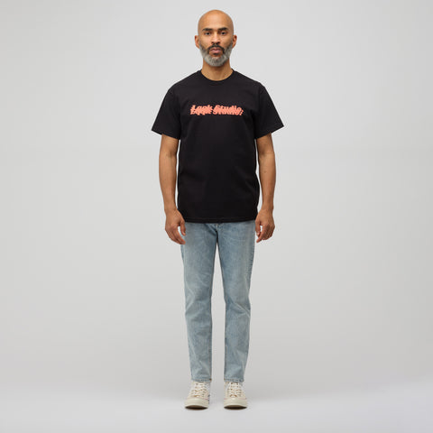 LQQK Studio Triple Stack Logo T-Shirt in Black/Red - Notre