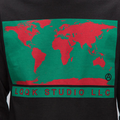 LQQK Studio World Map L/S Tee in Black - Notre
