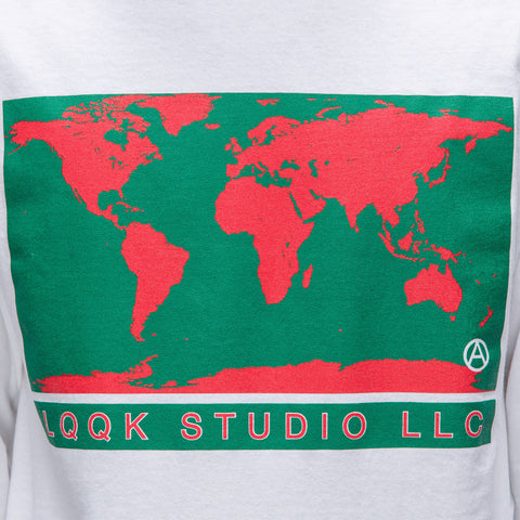 LQQK Studio World Map L/S Tee in White - Notre