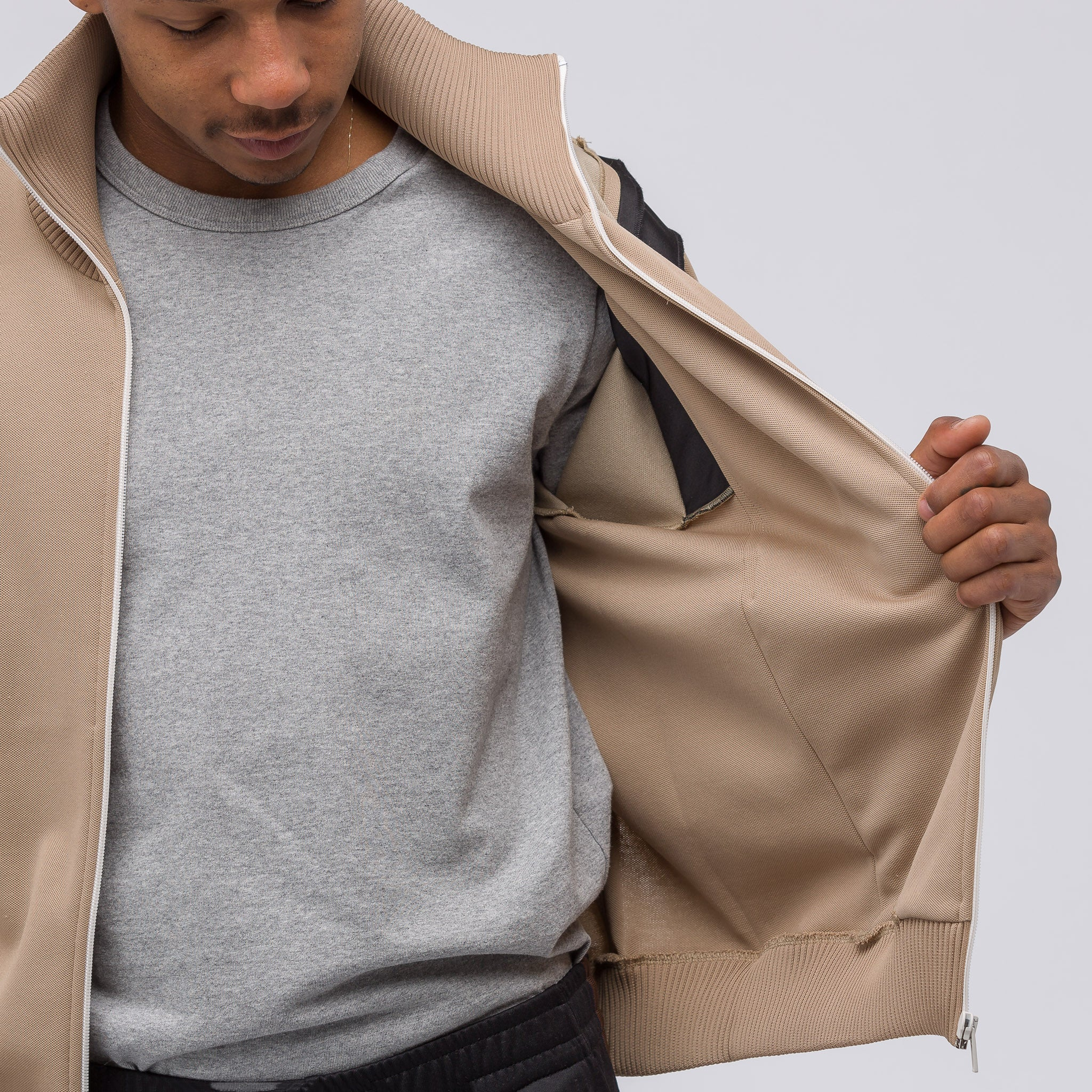 Contrast Track Jacket in Tan