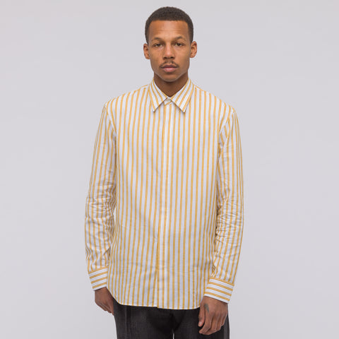 Maison Margiela Chenille Stripe Shirt in White/Yellow - Notre