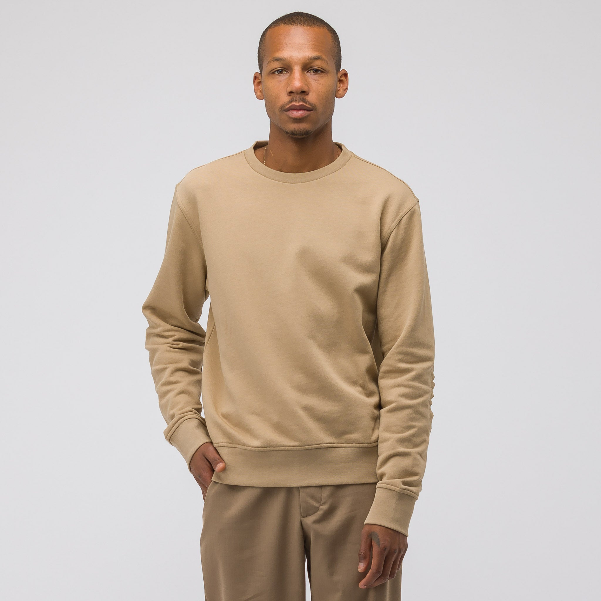 Elbow Patch Cotton Sweatshirt in Tan