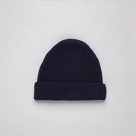 Maison Margiela Knit Wool Cap in Navy - Notre