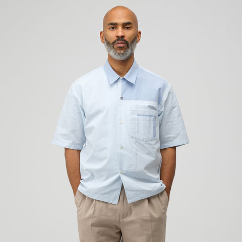Maison Margiela Patchwork Button Up Shirt in Blue - Notre