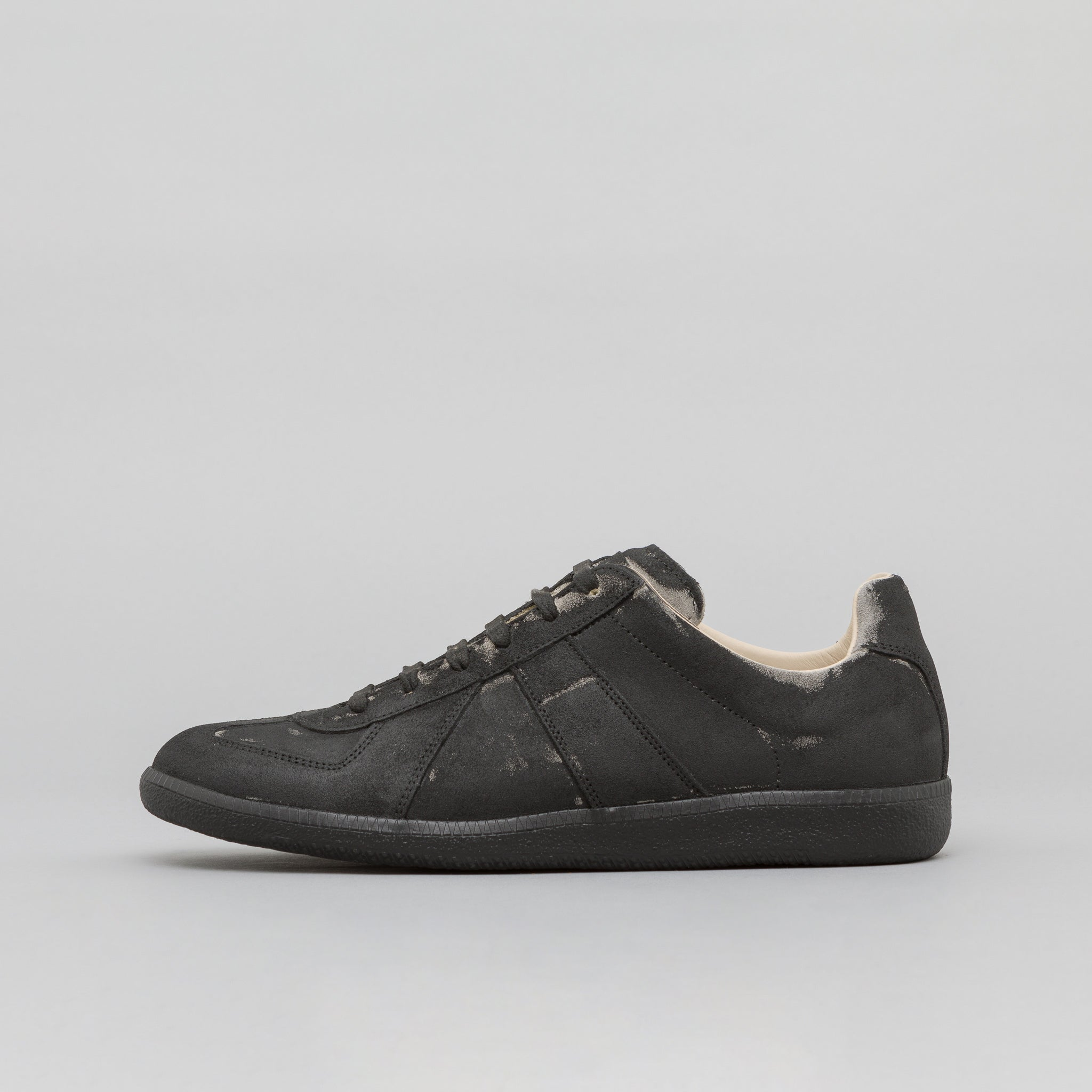 Replica Sneaker in Painted Black Leather