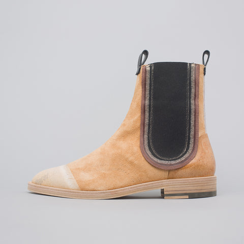 Maison Margiela Deconstructed Suede Chelsea Boots in Tan - Notre