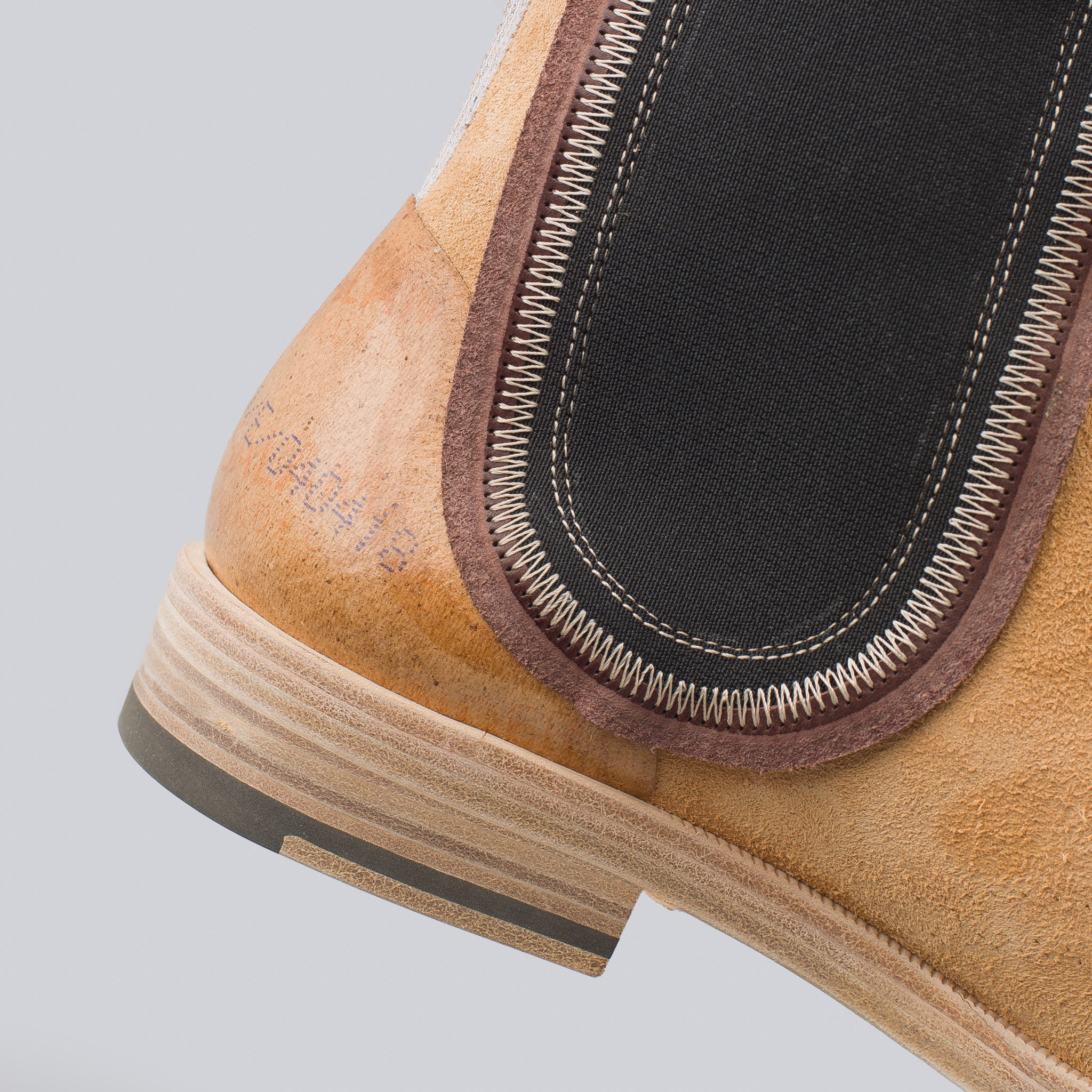 Deconstructed Suede Chelsea Boots in Tan