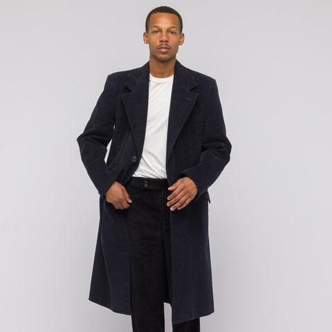 Maison Margiela Moleskin Trench in Dark Navy - Notre