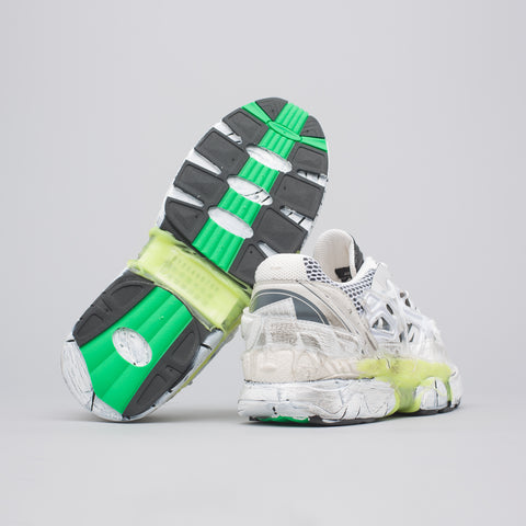 Maison Margiela Fusion Low Sneaker in White/Neon Green/Yellow - Notre