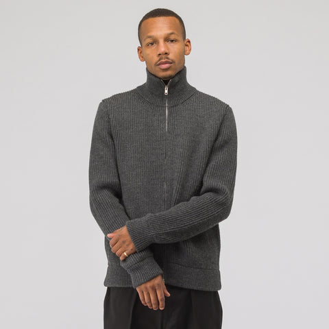 Full Zip Sweater in Charcoal