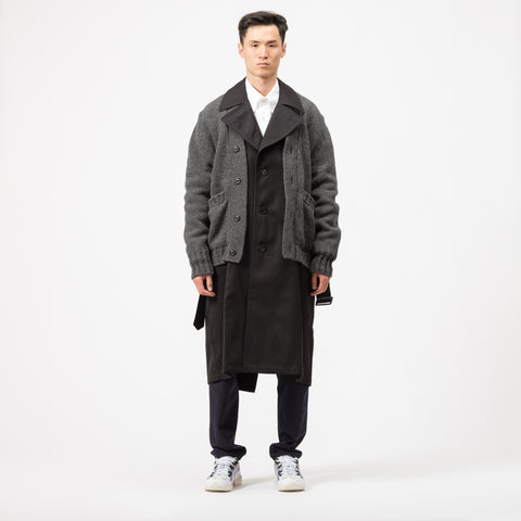 Maison Margiela Hybrid Cardigan Trench Coat in Black/Grey - Notre