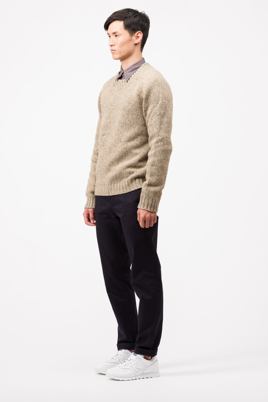 Maison Margiela Speckled Knit Sweater in Khaki/Brown - Notre