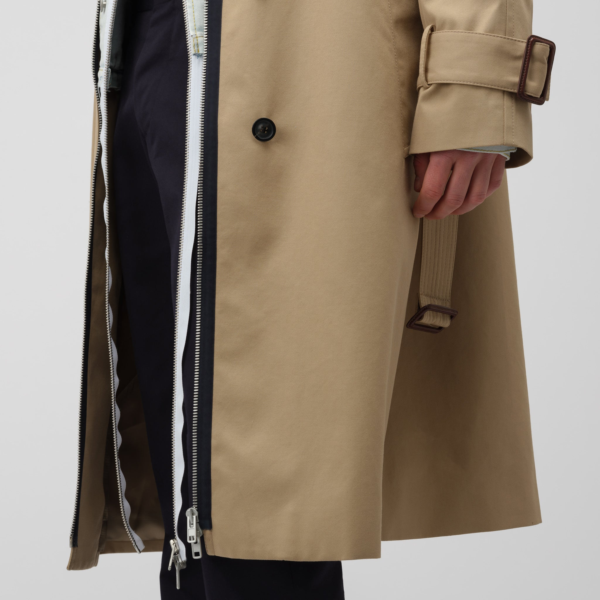 Jean Jacket/Trench Coat in Khaki/Indigo