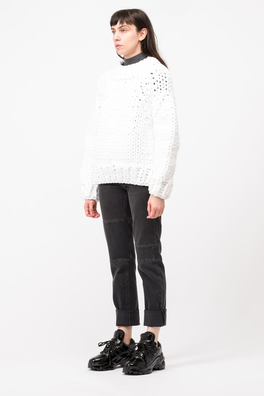 Maison Margiela MM6 Big Knit Sweater in White - Notre