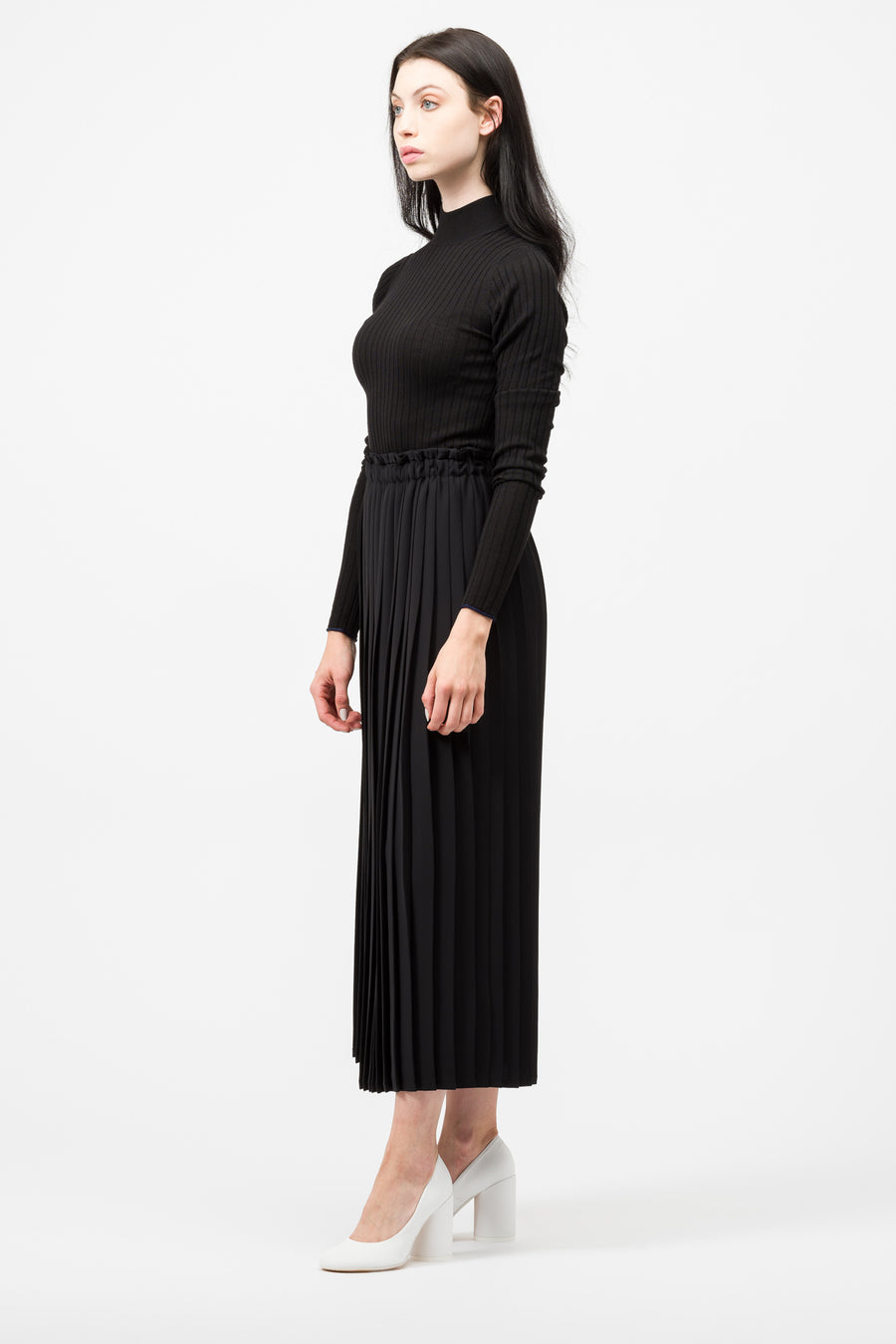 Maison Margiela MM6 Long Pleated Skirt in Black - Notre