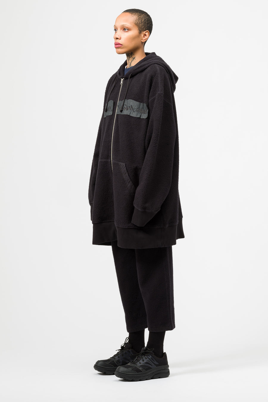 Maison Margiela MM6 Oversized Zip Up Hoodie in Black - Notre