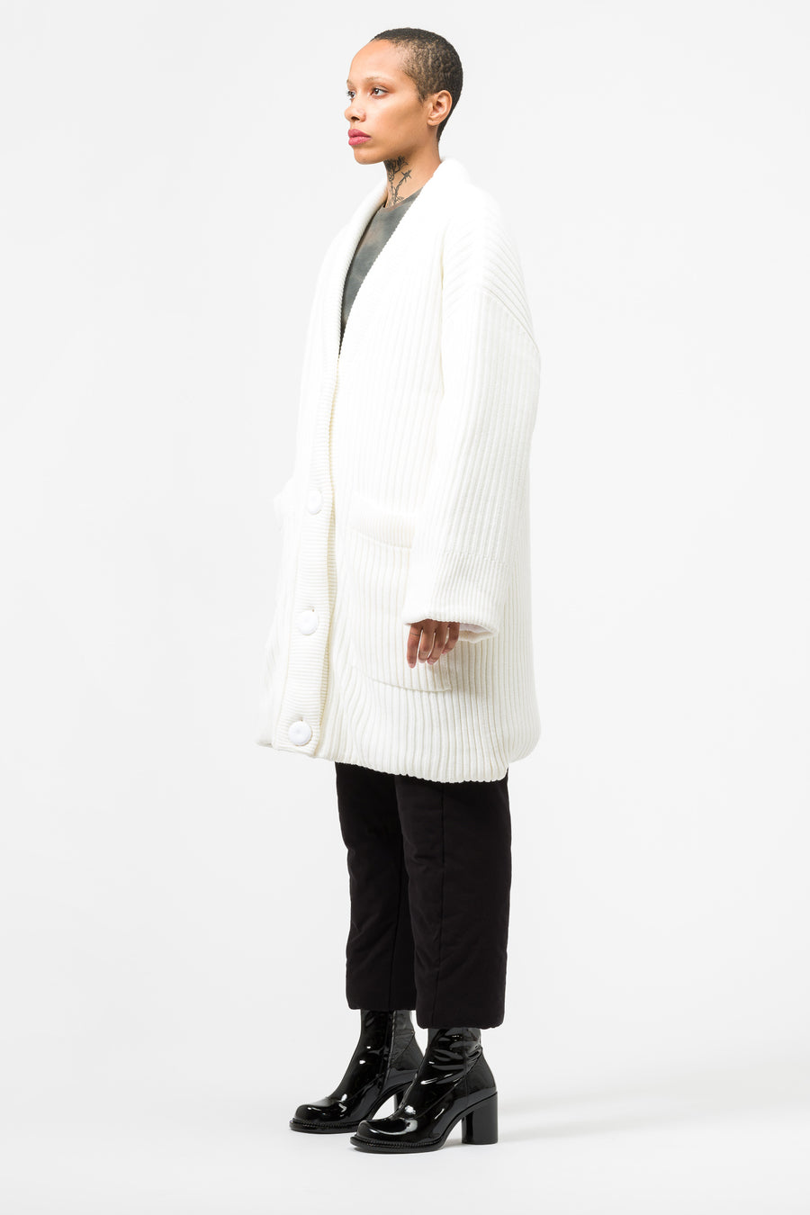 Maison Margiela MM6 Padded Cardigan in White - Notre
