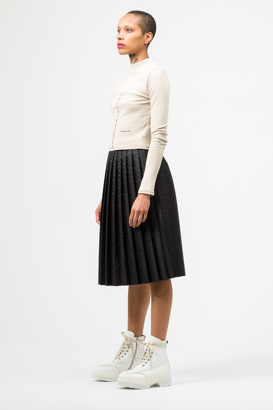 Maison Margiela MM6 Pleated Skirt in Black - Notre