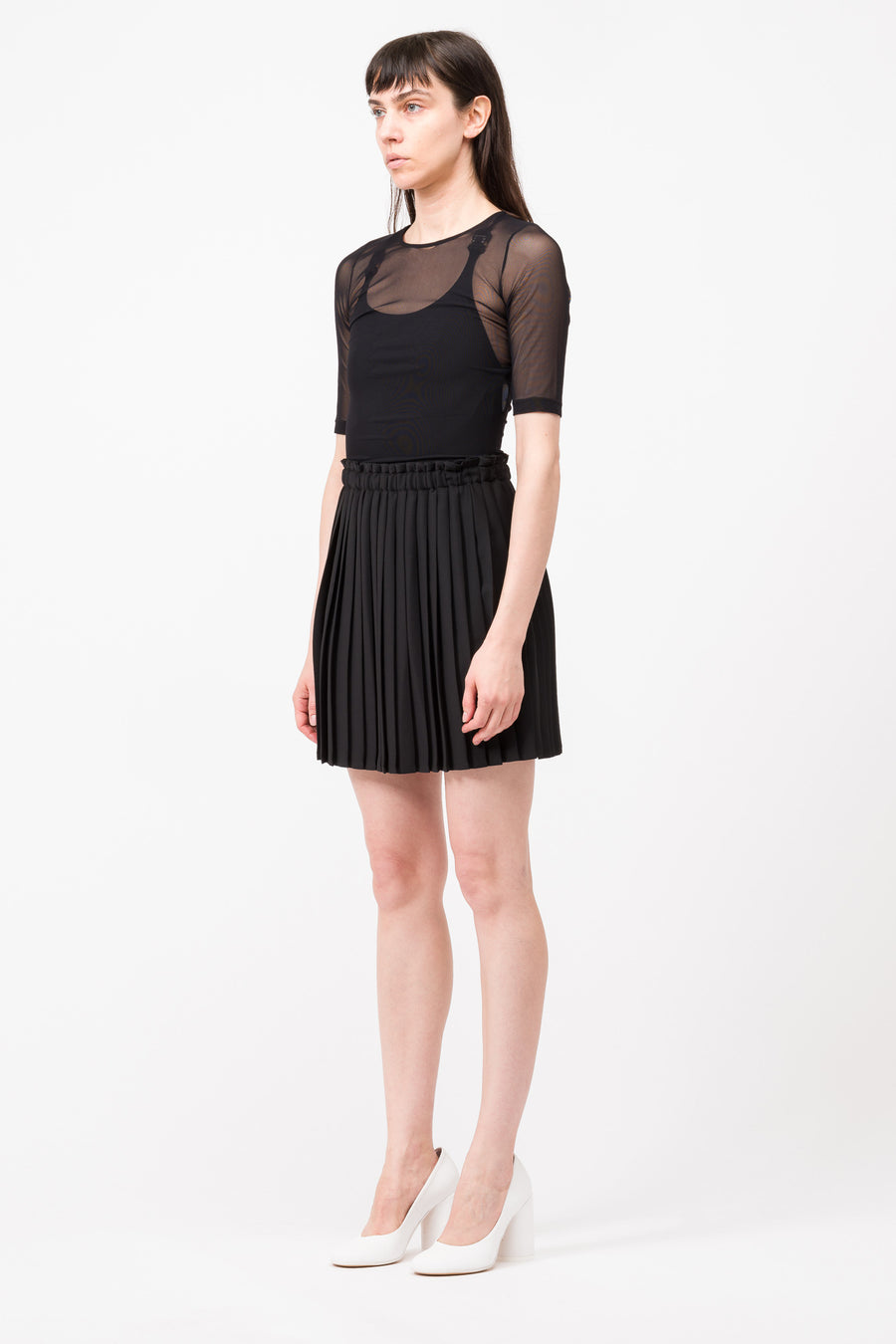 Maison Margiela MM6 S/S Mesh Top and Pleated Skirt in Black - Notre
