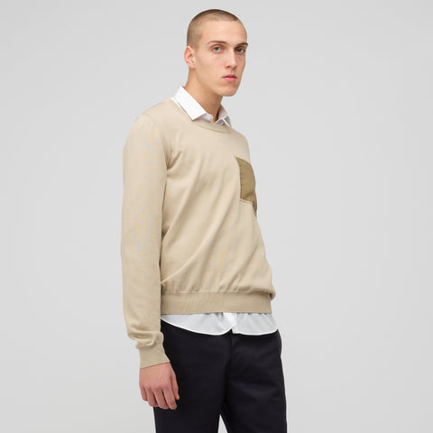 Maison Margiela Pocket Crewneck Sweater in Khaki - Notre