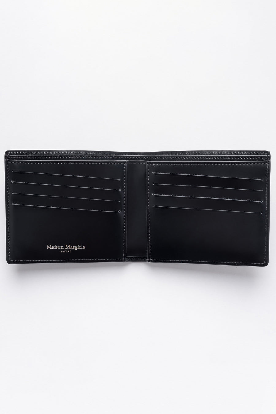 Maison Margiela Crocodile Embossed Leather Folding Wallet in Black - Notre