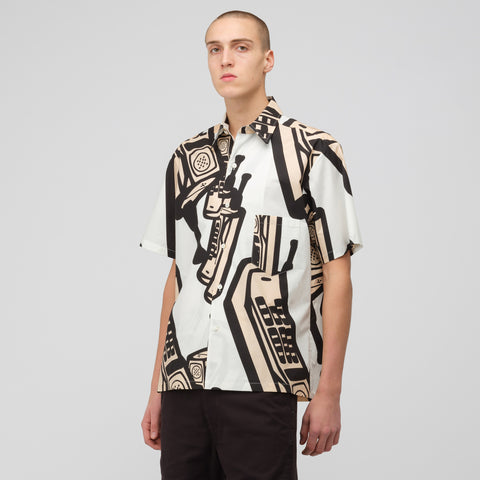 Maison Margiela Short Sleeve Button-Up in White/Pink/Black - Notre