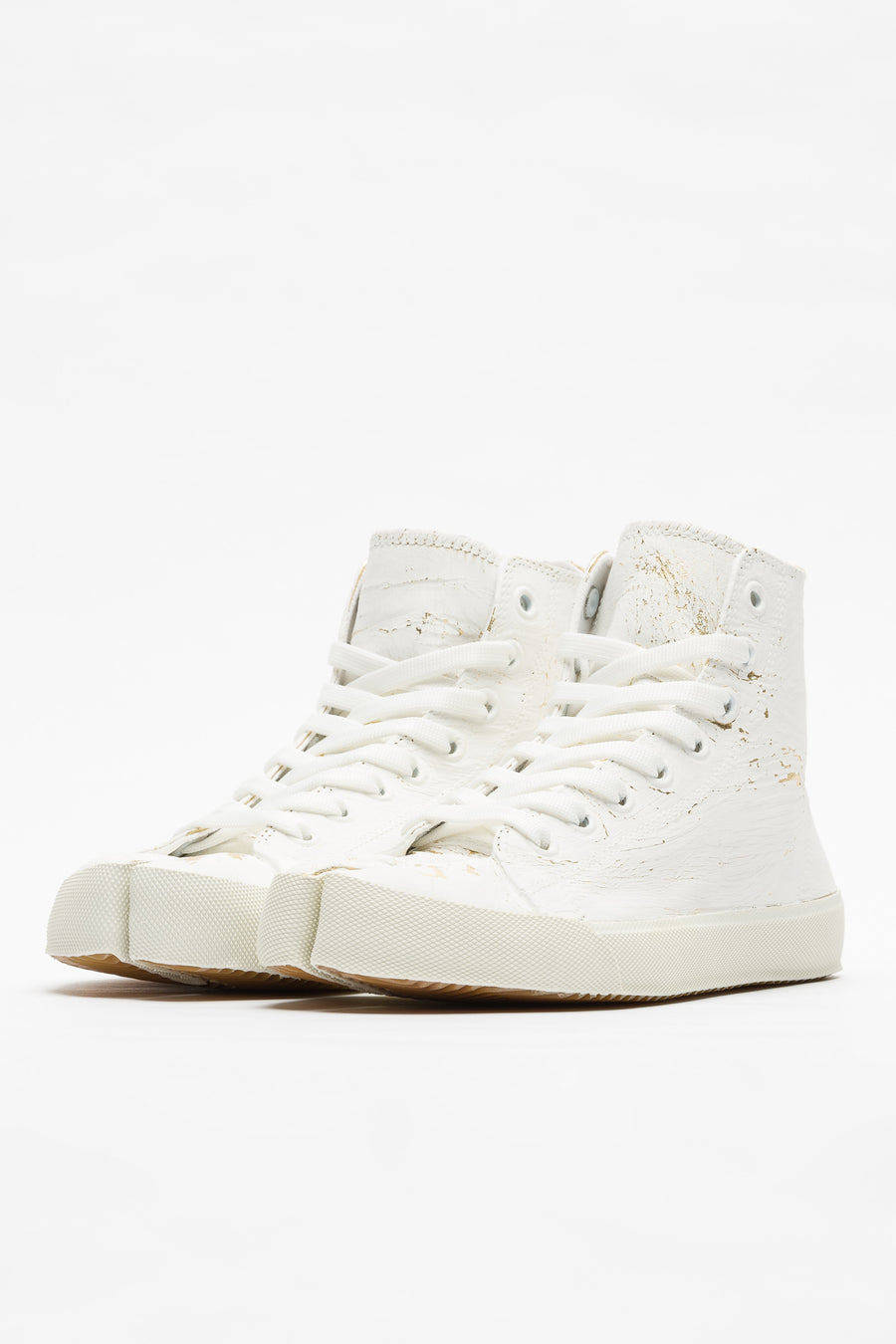 Maison Margiela Mid Top Painted Sneaker in White/Gold - Notre