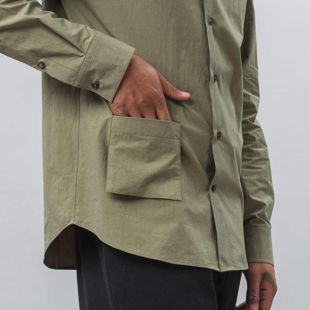 Banded Collar Shirt in Olive